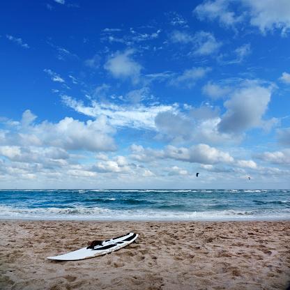 Pompano Beach「Seascape view with sandy beach and surfboard」:スマホ壁紙(6)