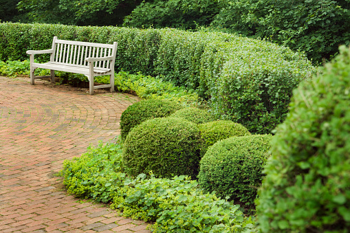 Garden Path「Brick Garden Patio and Wood Bench in Lush Planted Landscape」:スマホ壁紙(8)