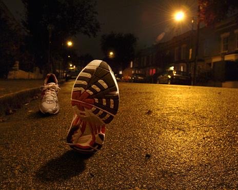Sports Training「Empty running shoes jogging on city street at night」:スマホ壁紙(6)