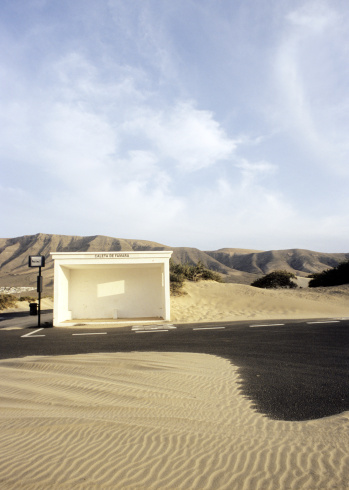 Atlantic Islands「Spain, Lanzarote, View of bus stop on landscape」:スマホ壁紙(9)