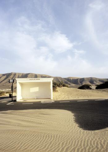 Lanzarote「Spain, Lanzarote, View of bus stop on landscape」:スマホ壁紙(13)