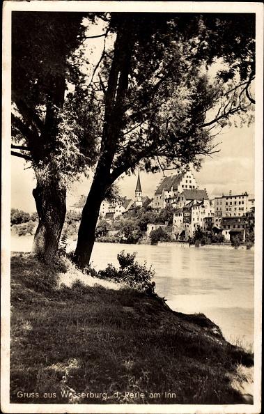 Rest Area「Ak Wasserburg am Inn in Oberbayern, Flusspartie mit Stadtblick」:写真・画像(18)[壁紙.com]