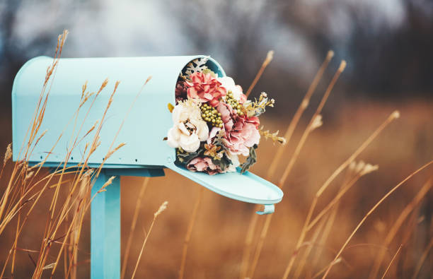 Pastel teal mailbox with bouquet of flowers:スマホ壁紙(壁紙.com)