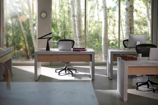 South Africa「Interior of a modern office with nature view」:スマホ壁紙(1)