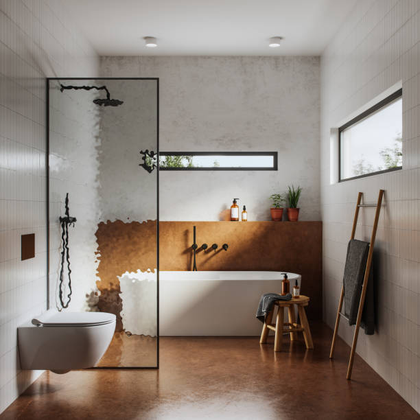 Interior of bathroom in 3d:スマホ壁紙(壁紙.com)