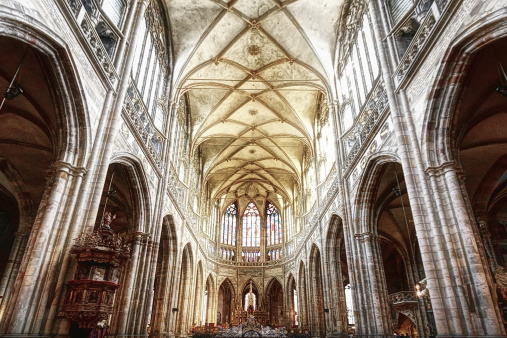 St Vitus's Cathedral「Interior of St. Vitus Cathedral in Prague」:スマホ壁紙(1)