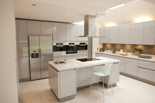 Domestic Kitchen「Interior of white, modern kitchen」:スマホ壁紙(18)