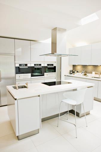 Kitchen「Interior of white, modern kitchen」:スマホ壁紙(6)