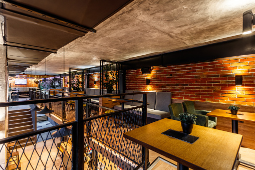 Leisure Activity「Interior of a modern industrial design pub」:スマホ壁紙(6)