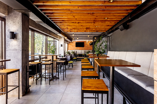 Seat「Interior of a modern industrial design pub」:スマホ壁紙(3)