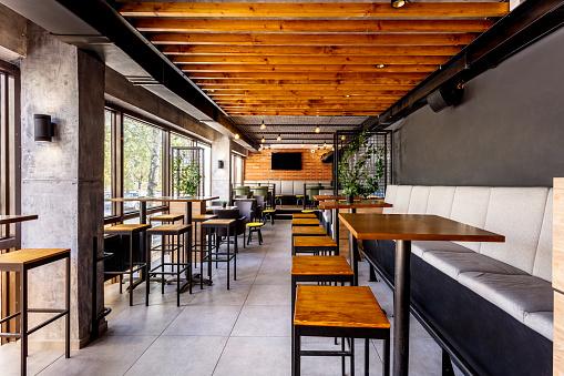 City Life「Interior of a modern industrial design pub」:スマホ壁紙(4)