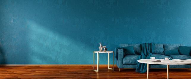 Turquoise Colored「Interior of Living Room with Blue Sofa Panorama」:スマホ壁紙(12)