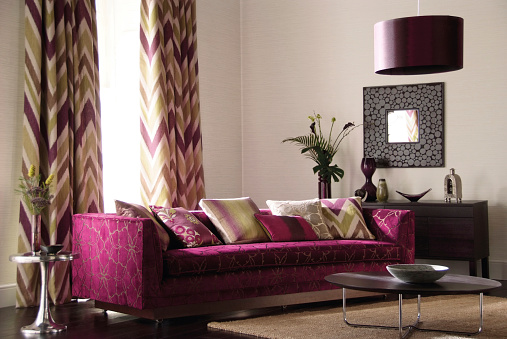 Pink Color「Interior of three seater sofa in living room」:スマホ壁紙(12)
