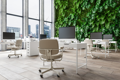 New Business「Interior Of Open Space Office With Plant Wall Background And Cityscape」:スマホ壁紙(15)