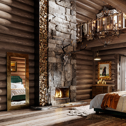 Chalet「Interior of a winter cottage bedroom in 3d」:スマホ壁紙(15)