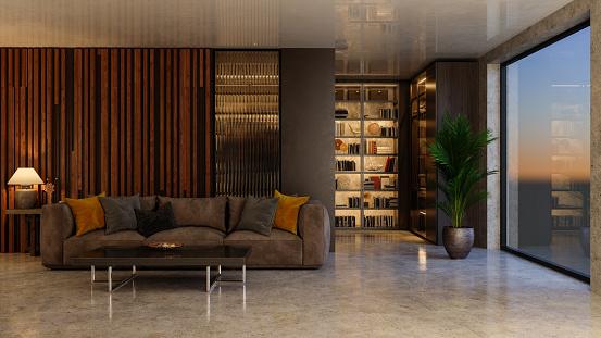 夜景「ソファと本棚が備わります豪華なリビングルームのインテリア。窓から夕暮れ風景。」:スマホ壁紙(19)