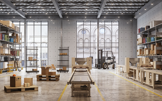 Freight Transportation「Interior of a large distribution warehouse」:スマホ壁紙(3)
