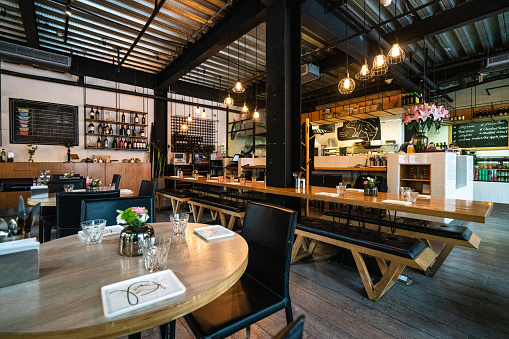 Cafe「Interior of modern restaurant in Shanghai」:スマホ壁紙(8)