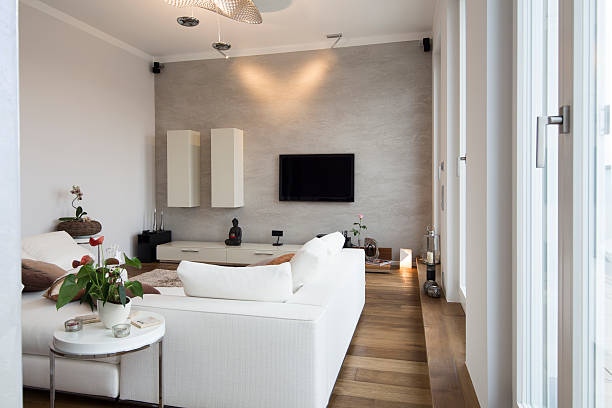 Interior of modern flat, Living room with white couch:スマホ壁紙(壁紙.com)