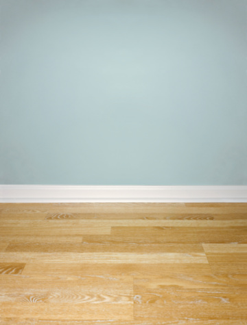 Wood Laminate Flooring「Interior of Wood Floor with White Baseboard and Blue Wall」:スマホ壁紙(12)