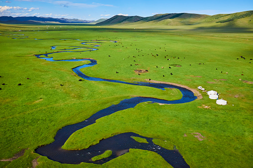 Independent Mongolia「Mongolia, yurt nomad camp in a valley」:スマホ壁紙(5)