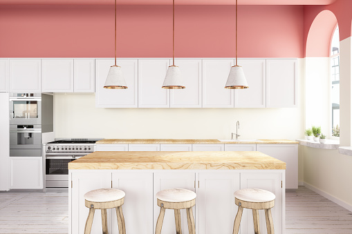 Pendant Light「Pink Walled Kitchen With White Cabinets, Pendant Lights, Kitchen Island And Hardwood Floor」:スマホ壁紙(18)