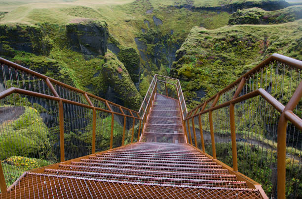 Fjadrargljufur Canyon  Staircase in Iceland:スマホ壁紙(壁紙.com)