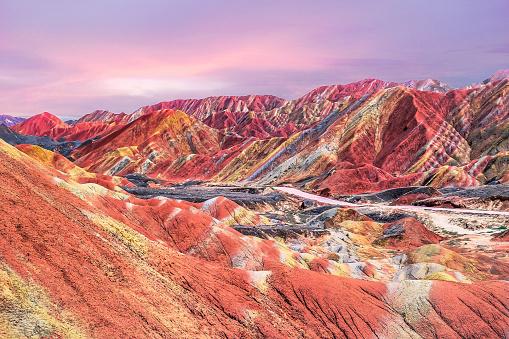 虹「中国の虹山の夕日」:スマホ壁紙(17)