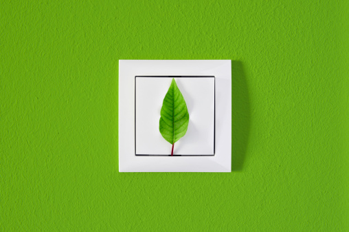 Light Switch「Leaf on light switch against green wall, ecology, energy concept」:スマホ壁紙(10)