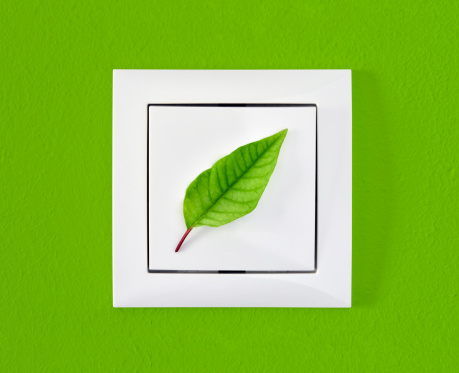 Light Switch「Leaf on light switch against green wall, ecology, energy concept」:スマホ壁紙(3)