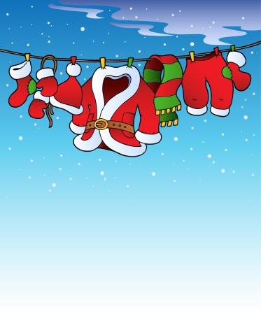 Belt「Snowy sky with Christmas costume - color illustration.」:スマホ壁紙(1)