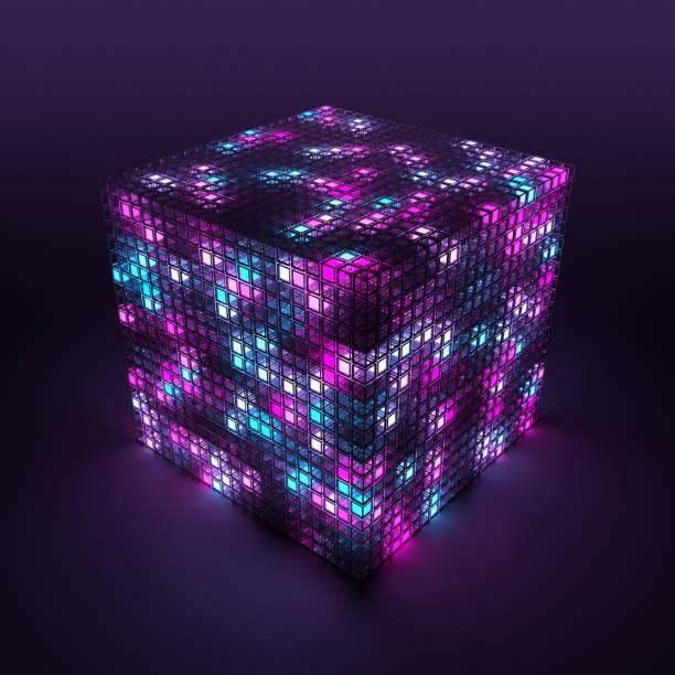 3D cube and cloud computing:スマホ壁紙(壁紙.com)