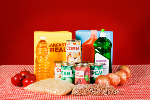 Wrapped「Generic food and cleaning products on gingham against red」:スマホ壁紙(11)