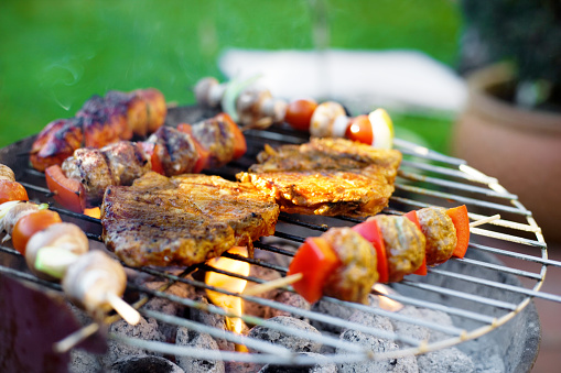 Barbecue Grill「Skewer and meat on grill」:スマホ壁紙(16)