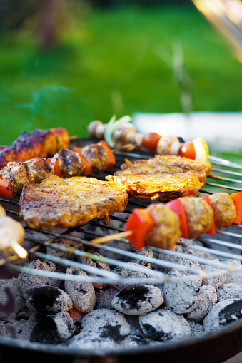 Barbecue Grill「Skewer and meat on a grill」:スマホ壁紙(1)