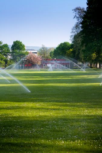 Sprinkler「Automatic lawn sprinkler in a park. Early morning.」:スマホ壁紙(10)