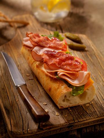 Lemon Soda「Roast Turkey BLT and Cheese Sandwich on a baguette」:スマホ壁紙(14)