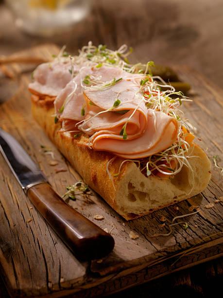 Roast Turkey and Cheese Sandwich on a baguette:スマホ壁紙(壁紙.com)