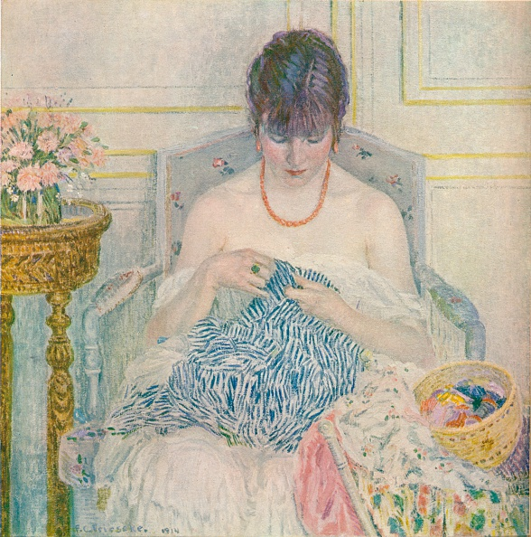 Oil Painting「A Girl Sewing, c1894-1914, (1914). Artist: Frederick Carl Frieseke」:写真・画像(5)[壁紙.com]