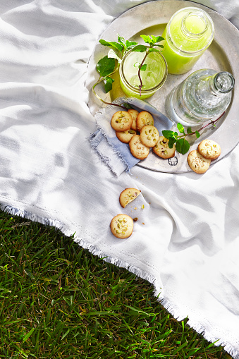 Picnic「Overhead picnic cookie and drink spread」:スマホ壁紙(2)