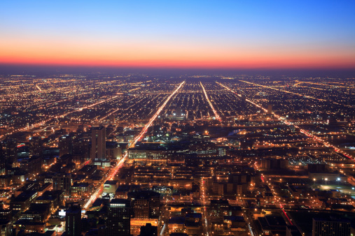 Avenue「Chicago at night, Illinois」:スマホ壁紙(12)
