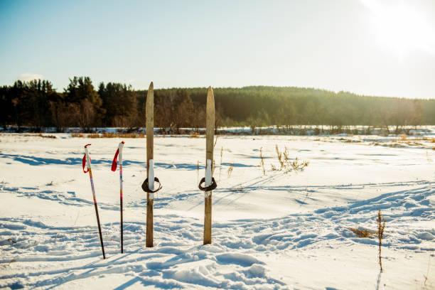 Skis and ski poles in snowy field:スマホ壁紙(壁紙.com)