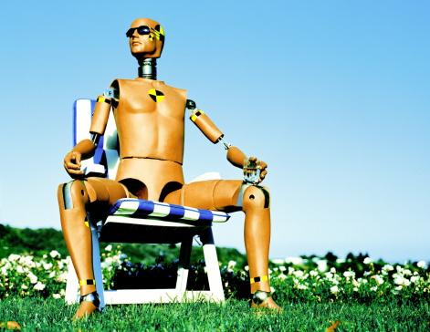 Deck Chair「Crash test dummy sitting on garden chair, holding drink」:スマホ壁紙(7)