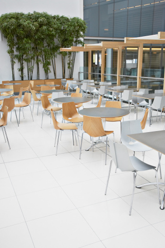 Chair「Empty cafe in modern office building」:スマホ壁紙(0)
