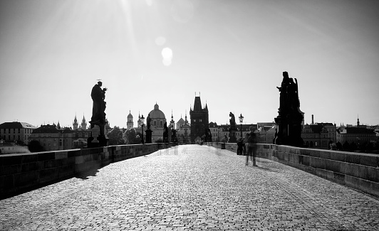 Charles Bridge「Statues Along Charles Bridge at Sunrise, Prague, Czech Republic」:スマホ壁紙(15)