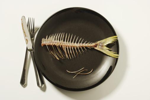 ガラス「Fish skeleton on plate」:スマホ壁紙(2)