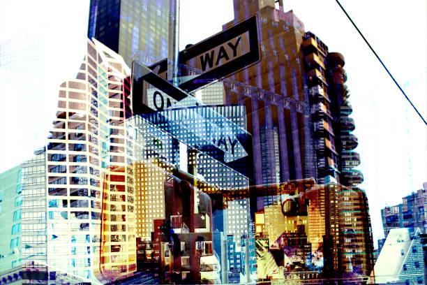 New York. Buildings and street sign. Digital composite.:スマホ壁紙(壁紙.com)
