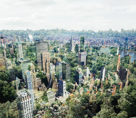 Multiple Exposure「New York buildings with trees.」:スマホ壁紙(7)