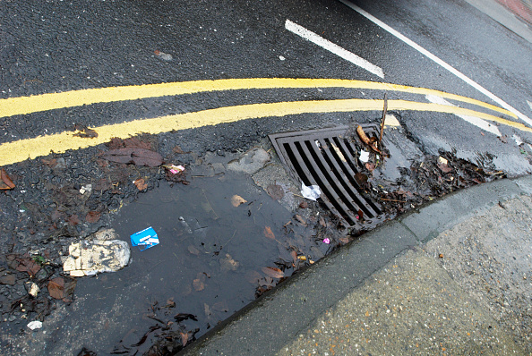 Sidewalk「Litter, leaves and puddle in gutter by drain」:写真・画像(6)[壁紙.com]
