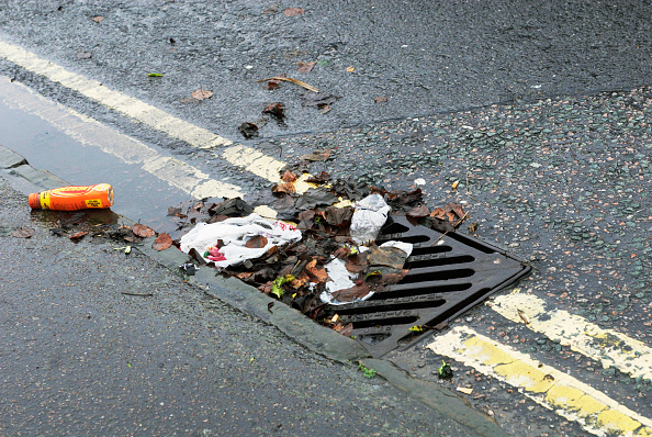 Dividing Line - Road Marking「Litter, leaves and puddle in gutter by drain」:写真・画像(3)[壁紙.com]